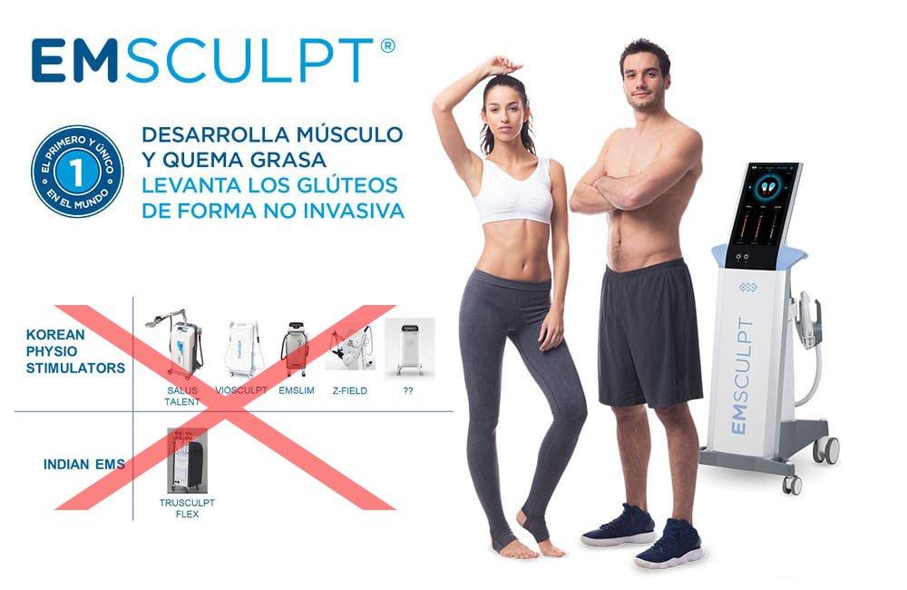 Rechaza imitaciones de EMSculpt perjudiciales para tu salud. Centro oficial Coolsculpting, TightSculpting y EMScuplt